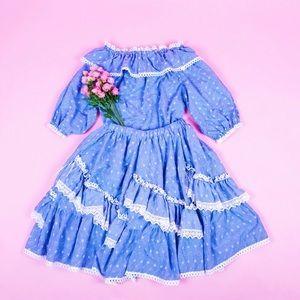 Dresses & Skirts - Vintage Matching Prairie Top & Skirt Set